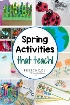 Spring activities that your preschoolers will love! There are tons of hands-on learning activities included for each subject, including spring crafts and nature activities. Nature Activities, Spring Activities, Alphabet Activities, Literacy Activities, Activities For Kids, Preschool Garden, Preschool Themes, Preschool Crafts, Card Patterns