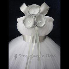 Silver+Flower+Girl+Dress+Flowergirl+Dresses+by+StrawberrieRose,+$89.95