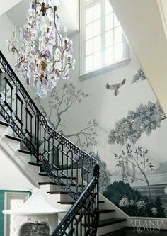 Gorgeous wallcovering + Baccarat chandelier in the stairway at the 2013 Decorator's Show House & Gardens by The Mercantile. (Atlanta Style Now Atlanta Homes & Lifestyles. Baccarat Chandelier, Chandeliers, Grisaille, Atlanta Homes, Stairway To Heaven, Of Wallpaper, Chinoiserie Wallpaper, Wallpaper Staircase, Beautiful Wallpaper