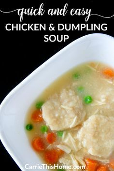 Easy & delicious! Some smart time-saving tricks brings this comfort food to your table in minutes! Quick & Easy Chicken and Dumpling Soup from CarrieThisHome.com