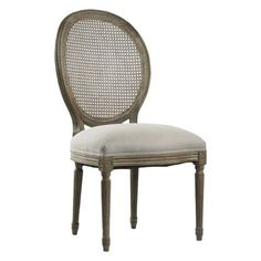 Oval Back Bergere Side Chair - Rustic - Dining Chairs - other metro - by Soft Surroundings Rustic Dining Chairs, Rustic Chair, Fabric Dining Chairs, Dining Arm Chair, Dining Room Furniture, Ceiling Paint Colors, Blue Ceilings, Rustic Interiors, Decor Interior Design