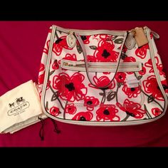 Coach Poppy floral tote Super cute coach bag! Only used once and it was for a sleepover! Dustbag included and absolutely no stains or marks anywhere. Straps, bottom and zipper pulls made of patent leather! Coach Bags Totes