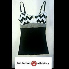 Lululemon Tank w/ bra grey sx 2 xxs Lululemon Athletica tank top.  The size tag is missing but I believe this to be a size 2 xx small. Please, let me know if you need the measurements. It is a two tone heat here'd gray with white and black chevron pattern on top. And it has a built in bra (no pads) with reinforced mesh panel and adjustable straps. This top is in good condition. It has been washed several times so the color may not be like brand new but there are no stains or rips. This…