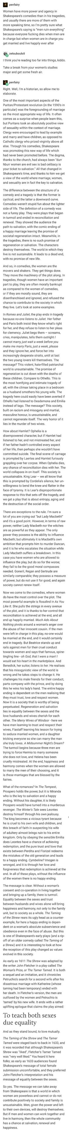 If my feminist English Teacher who loves Shakespeare taught us about feminism through Shakespeare then this is basically what she'd say, also this is awesome Shakespeare History, Shakespeare Plays, The More You Know, Faith In Humanity, Social Issues, Tumblr Posts, Things To Think About, Equality, Fun Facts