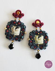 Soutache Earrings-  Statement Earrings-Klimt, Dangle Long Earrings- ceramic lava stone OOAK Earrings by Rejesoutache on Etsy