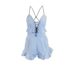 2016 summer blue striped romper women jumpsuit Lace up ruffle two piece playsuit Sleeveless strap sexy overalls Rompers Women, Jumpsuits For Women, Summer Jumpers, Fashion Leaders, International Fashion, Striped Shorts, Playsuit, Boho Chic, Overalls