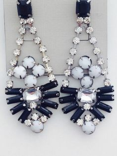 Monochrome Crystal Shourouk Style Earrings - Steal Her Style | Online Fashion Store | Shop The Latest Trends £5