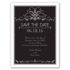 The simple yet elegant feel of this vintage inspired save the date is the perfect way to tell your guests about the big day! #vintageweddings #weddinginvitation #savethedate #davidsbridal