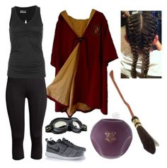 """The Jewel of His Life: Quidditch Match Outfit"" by capeles on Polyvore featuring beauty, H&M, Lija and NIKE"