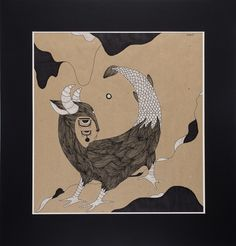 """""""Pangolin."""" Graphicseries """"Night Moods."""" by Uliana Pucheglazova. 72,8/70,1 см."""