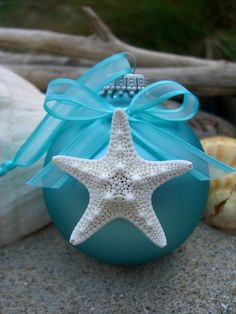 Starfish Coastal Holiday Ornament-TIFFANY BLUE HOLIDAY-Christmas ornament, Home Decor, Beach House, Beach Wedding Favors, Tiffany Blue