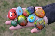 Painting rocks.  Fun activity for the kids when camping!  Marty Chapman