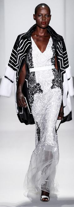 2014 RTW Dennis Basso -- LOVE the gown. Not so much with this coat (although it's very striking as a separate piece).