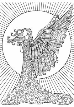 Angel Adult Coloring (Doodles) on Behance Angel Coloring Pages, Adult Coloring Book Pages, Fairy Coloring, Doodle Coloring, Mandala Coloring Pages, Colouring Pages, Coloring Books, Mandala Art Lesson, Mandala Drawing