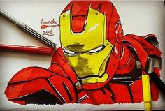 Iron man Drawing. Easy to make with markers