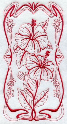 (^_^) Art Nouveau hibiscus - Machine Embroidery Designs at Embroidery Library! - New This Week Folk Embroidery, Machine Embroidery Designs, Embroidery Stitches, Embroidery Patterns, Hibiscus, Art Nouveau Flowers, Embroidered Quilts, Art Nouveau Design, Embroidery Techniques