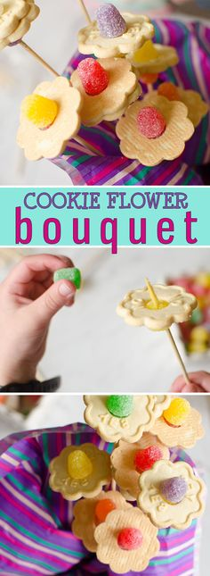 This adorable cookie flower bouquet is a great Mother's Day gift for kids who love to give homemade. What mom or grandma wouldn't love to receive such a thoughtful and delicious gift from a child on their special day. #MothersDayGift #MothersDayActivity #KidMade #Cookies #Flowers #Tasty #Delicious #MothersDayIdeas #KidsCrafts #KidsActivities #FlowerCraft #FunTreats #HappyHooligans via @https://www.pinterest.com/happyhooligans/