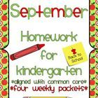 This packet include four weeks of homework for Kindergarteners. Each activity aligns with Common Core Standards. The packet includes a monthly char...