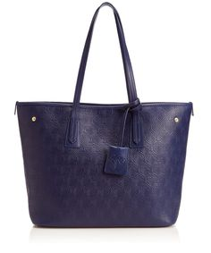 Liberty London Small Navy Iphis Embossed Leather Marlborough Tote Bag   Accessories   Liberty.co.uk
