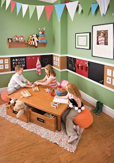 I like the table design for kids! Chalkboard stripe down hall