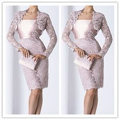 Lace Jacket Knee Length Mother Of The Bride Outfit Women Formal Wedding Dress