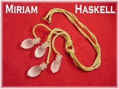Miriam Haskell Frank Hess - Crystal Ice Glass Gold Cord Rhinestone Necklace  VERY RARE - Art Deco - FREE Shipping