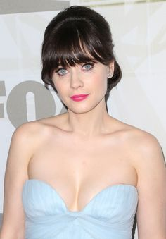 Zooey Deschanel #makeup #style at the 2012 Primetime Emmy Awards