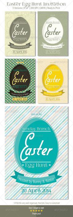 Easter Egg Hunt Invitation You can buy this from here http://graphicriver.net/user/DenisBors/portfolio?ref=DenisBors