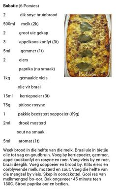 Mince Recipes, Tart Recipes, Cooking Recipes, Bobotie Recipe, Cut Recipe, Kos, Good Food, Yummy Food, Curry Dishes
