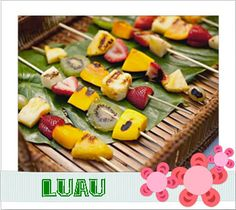 Grilled Fruit Kabobs Hawaiin Appetizers, Appetizer Recipes, Hawaiian Luau Party, Hawaiian Desserts, Hawaiian Recipes, Hawaiian Theme, Luau Food, Grilled Fruit, Fruit Kabobs