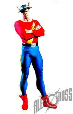 Flash (Jay Garrick) by Alex Ross Alex Ross, Comic Book Artists, Comic Book Heroes, Comic Books Art, Dc Comics Characters, Dc Comics Art, Dr Fate, Dc Trinity, Comics