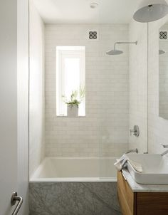 Bathroom:Square White Tile Bathroom Sink Wooden Sink Cabinet Modern Bathroom Faucet Square Bathtub Wall Shower Steel Towel Rail Pendant Lamps Slim Glass Window Glass Bathtub Partition Three Crucial Aspects in Upgrading Small Bathrooms