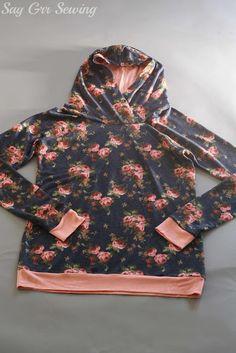 A floral hooded Lane Raglan