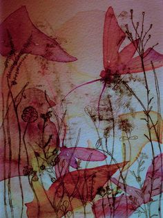 Wildflower Monoprint by Colleen Parker Collage Art, Collages, Gelli Arts, Art Graphique, Art Techniques, Les Oeuvres, Flower Art, Printmaking, Watercolor Art