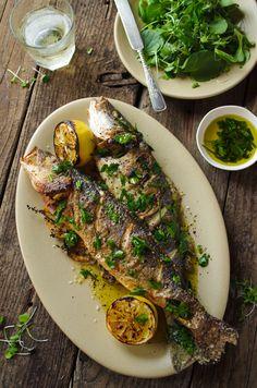How to make whole roast fish, restaurant style – The Boston Globe - nimivo sites Fish Dishes, Seafood Dishes, Seafood Recipes, Cooking Recipes, Healthy Recipes, Grilled Fish Recipes, Baked Whole Fish, Baked Fish, Baked Trout