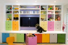 New Living Room Storage Ideas For Toys Built Ins Ideas Kids Playroom Storage, Small Playroom, Kid Toy Storage, Playroom Organization, Playroom Design, Living Room Storage, New Living Room, Bedroom Storage, Playroom Ideas