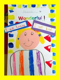 "Kindergarten Self-Portraits in Response to picture book & song ""You're Wonderful"" by Debbie Clement"