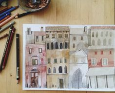 felicita sala illustration - houses buildings