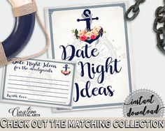 Nautical Anchor Flowers Bridal Shower Date Night Ideas in Navy Blue, print own date ideas, blue anchor, party supplies, party décor - 87BSZ - Digital Product bridal shower wedding bride to be bridesmaids