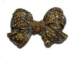 Rhinestone Vintage Bow Tie Ribbon Yellow Stone Brooch/Pin SOLD