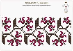 Romanian traditional motifs - MOLDOVA, Neamt - Garcina Embroidery Sampler, Folk Embroidery, Cross Stitch Embroidery, Embroidery Patterns, Beaded Cross Stitch, Cross Stitch Borders, Cross Stitch Patterns, Blackwork Patterns, Peyote Patterns