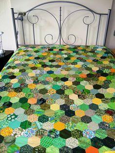 love the green Hexagon quilt