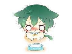 The poor dear doesn't like milk ... Free! - Iwatobi Swim Club, free!, iwatobi, ikuya, ikuya kirishima, kirishima, high speed, cat, neko, starting days