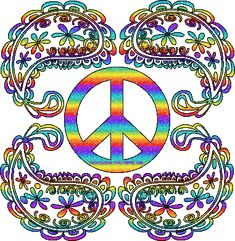 Paisley and peace sign Hippie Peace, Hippie Love, Peace Sign Art, Peace Signs, Peace Sign Tattoos, Hippie Posters, Rainbow Clipart, Glitter Gif