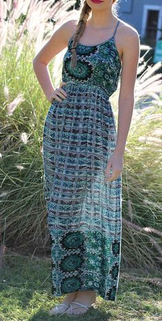 Angie Apparel Blue & Green Abstract Maxi Dress