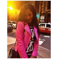Pink leather jacket, fashion, black & pink, jacket,