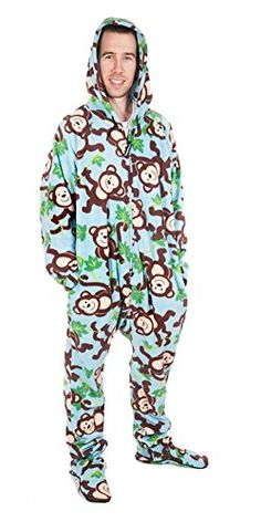 Forever Lazy Men's Footed Adult Onesie - Big Chimpin' - M Lazy Person, One Piece Pajamas, Onesie Pajamas, Onesies, Winter Jackets, Unisex, Hoodies, My Style, How To Wear