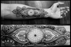 Geometric forearm tattoo