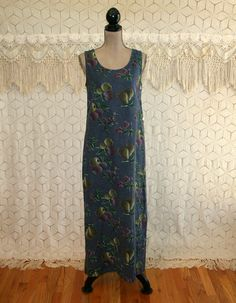 Linen Maxi Dress Sleeveless 90s Long Summer Dress Boho Blue