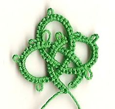 Begin a chain on a paper clip, or begin with a picot. Chain ( 16 - 8 - 8 - 16 - 8 - 8 - 16 - 8 - 8 - 16)